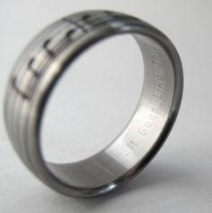 Personalized Music Ring Custom Titanium Ring by Ricksonjewellery