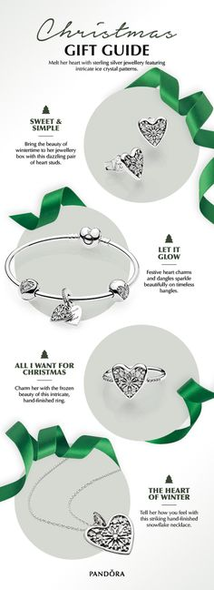 Melt someone's heart this Christmas with sterling silver jewellery featuring intricate ice crystal patterns. Heart-shaped earrings, rings, charms, and necklaces are the perfect complements to winter outfits this season.