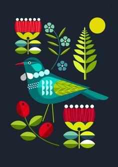 New Zealand, Folk, Tui, - Murales Pared Exterior Nz Art, Scandinavian Folk Art, Art Folder, Indian Folk Art, Mural Wall Art, Bird Art, Art Inspo, Art Projects, Street Art