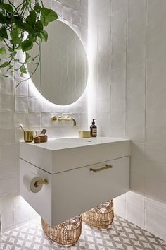 The Block 2019 Oslo Guest Ensuite bathroom ideas bathroom vanity backlit bathroom mirror white and brass bathroom Backlit Bathroom Mirror, Brass Bathroom, Ensuite Bathrooms, Guest Bathrooms, Bathroom Lighting, Zen Bathroom, Bathroom Goals, Bathroom Inspo, Bathroom Ideas White