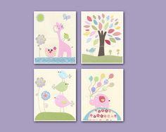 Nursery Decor Art for Kids, Baby girl Room birds, set of 4 8x10 print, purple, baby blue, lilac, aqua, green, pink, yellow