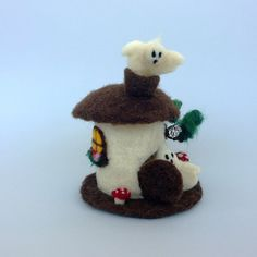 Felt Ghost house Needle felted Halloween decoration Waldorf ornament Whimsical Haunted House Cute fabric wool Dollhouse cottage Gnome Fairy