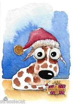ACEO Original Watercolor Folk Art Whimsical Animal Pet Dog Christmas Hat Gift | eBay