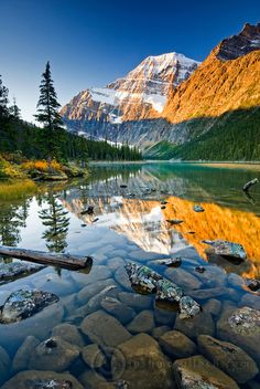 Mount Edith Cavell reflected in Cavell Lake in Jasper National Park, Alberta.