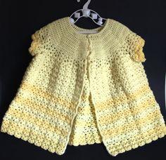 Crochet Baby Matinee Coat - Vintage Yellow Handmade Cape Jacket for Babies - Christening Baptism by FunkyKoala on Etsy