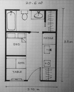 Discover recipes, home ideas, style inspiration and other ideas to try. Modern Tiny House, Tiny House Cabin, Small House Plans, Studio Floor Plans, House Floor Plans, Master Thesis, Studio Apartment Layout, Student House, House Blueprints