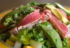 Grilled Tuna with Avocado, Cucumber & Ginger Salsa