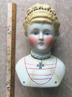 Antique Fancy China Parian Doll Molded Blouse Necklace Hair Jewelry Parts Repair | eBay
