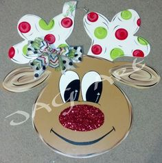 Glitter nosed REINDEER door hanger with bow (If I made this, I'd paint the antlers brown and leave off the bow! Christmas Tree Decorating Tips, Christmas Projects, Holiday Crafts, Christmas Decorations, House Decorations, Christmas Ideas, Burlap Crafts, Wooden Crafts, Diy Crafts