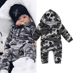1d8a6a594 Fashion Newborn Infant Baby Boy Romper Camouflage Hooded Jumpsuit Bodysuit  Warm Clothes Outfit