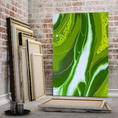 Green and White Abstract Art Canvas Decor #abstractwallart #abstractprint #abstractartwork #largeabstractart #modernart #originalabstract #framedabstractart #largecanvasart #abstractwalldecor #officewalldecor #greenabstract #whiteabstractart #greenandwhiteart