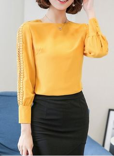 Autumn Spring Blend Women Round Neck Hollow Out Plain Long Sleeve Blouses Blouse Styles, Blouse Designs, Moda Outfits, Camisa Formal, Casual Hijab Outfit, Mod Dress, Corsage, Blouses For Women, Fashion News