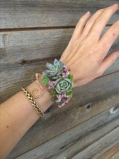 Succulent cuff corsage