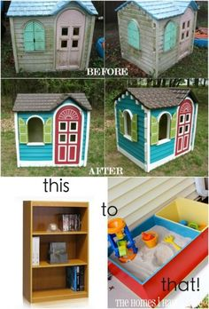 Lots of great upcycling ideas for kid's backyard areas. (baby shelves play areas)