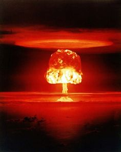 Nuclear weapon test Romeo (yield 11 Mt) on Bikini Atoll. The test was part of the Operation Castle. Romeo was the first nuclear test conducted on a barge. The barge was located in the Bravo crater. Bomba Nuclear, Nuclear Test, Nuclear Bomb, Nuclear Energy, Hiroshima, Reactor Nuclear, Mushroom Cloud, Doomsday Clock, Today In History