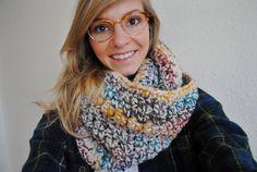 Crochet Infinity Scarf Colorful Chunky