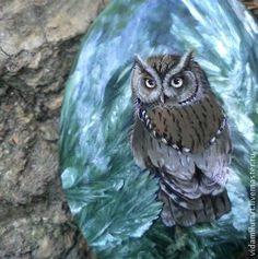 Сова на серафините - зелёный,коричневый,сова,филин,магия,магический,символ