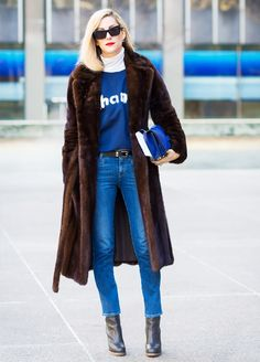 Winter Layering Ideas From the Streets of New York via @WhoWhatWearUK// Just amazing!! Snag a stylish sweatshirt to layer into your cold-weather outfit!!