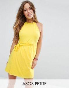 ASOS PETITE – Rückenfreies Mini-Sommerkleid im Wickeldesign mit Neckholder
