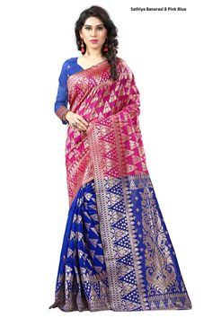 Beautiful Pink/Blue Banarasi Saree (Y)