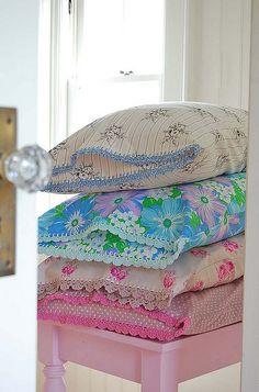 Shabby Chic crochet around vintage pillowcases