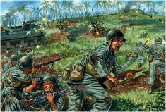 Leyte 1944: La pérdida de las Filipinas en 1942 fue la peor derrota en la historia militar de los Estados Unidos. El General Douglas MacArthur, el León de Luzón, prometio regresar.... Ataque contra una posicion atrincherada japonesa. Giuseppe Rava
