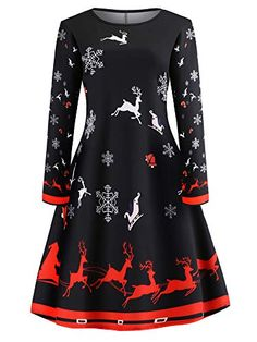 a4108ef9571a5 Womens Xmas Christmas Swing Dress Long Sleeve Round Neck Snowflake Elk  Print Evening Party A Line Cocktail Dress Ball Gown