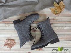 Wol winter laarzen Casual — handgemaakte schoenen voor vrouwen. Warme, duurzame…