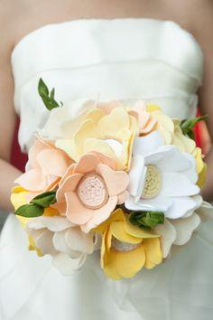 Bridal bouquet made of felt flowers