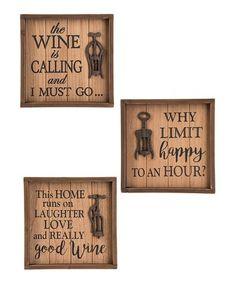 Wine Box Sign - Set of Three #zulily #zulilyfinds