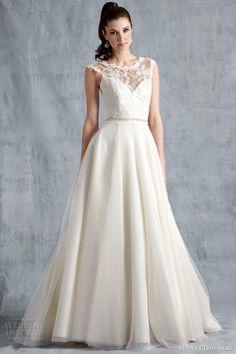 http://weddinginspirasi.com/2014/04/16/modern-trousseau-spring-2015-wedding-dresses/ modern trousseau spring 2015 #bridal mila #wedding dress illusion neckline #weddingdress #weddings