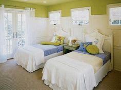 """White wainscot paneling higher up on the wall should lessen the impact of a """"lime green"""" room."""