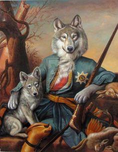 The Hunting Lesson - Pet Portraits, Custom pet art by european artist Valerie Leonard Costume Chien, Animals And Pets, Cute Animals, Animal Dress Up, Animal Heads, Dog Portraits, Pet Clothes, Animal Paintings, Dog Art