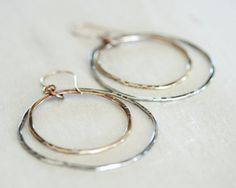 Silver and Gold Hoops / Organically Shaped and Hammered Hoop Within A Hoop / Simple Earrings / Everyday Wearable Jewelry by amywaltz #TrendingEtsy