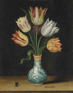 Ambrosius Bosschaert, Semper Augustus tulpen in een Wan-Li vaas met een rups en vlieg, op een richel,