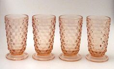 4x PINK DEPRESSION GLASS FOOTED GLASSES JEANNETTE CUBE CUBIST FOSTORIA AMERICAN