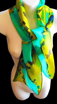 Blue Green High Definition SILK SCARF for by SilkScarvesJoanReese, $60.00