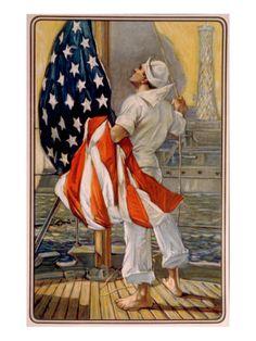 World War I, American Calendar Art of Sailor Raiding the American Flaf Aboard Ship, 1917
