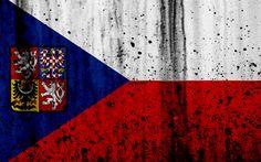 Download wallpapers Czech Republic flag, 4k, grunge, flag of Czech Republic, Europe, Czech Republic, national symbolism, Czech, coat of arms of Czech Republic, Czech coat of arms
