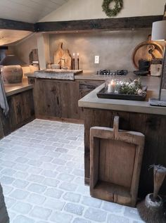 Cabin Kitchens, Modern Farmhouse Kitchens, Rustic Kitchen, Rustic Home Design, Home Interior Design, Küchen Design, House Design, Tudor Kitchen, Italian Home