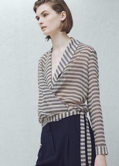 Wrap v-neckline blouse - Shirts for Women | MANGO