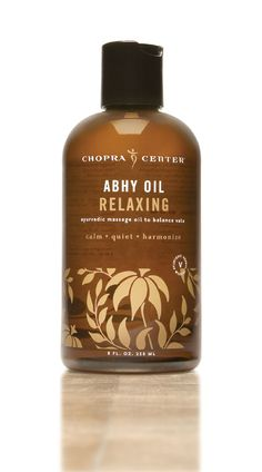 Relaxing Abhy oil is made with traditional Ayurvedic oils of Coconut, Almond, Jojoba, and Safflower, infused with the relaxing herbal blend, Dashmula, and Vata balancing essential oils of Patchouli, Vetiver, Basil, and other natural botanicals.