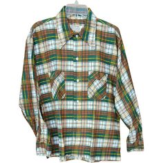 This 1970s men's flannel shirt has long sleeves, is size large and is in mint, unworn  condition. Introductory Sale Price for a short time.