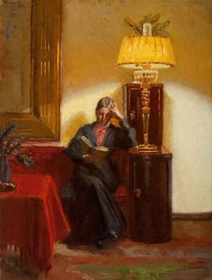Helga Ancher (Danish painter) 1883 - 1964 Anna Ancher Læsende i Dagligstuen (Anna Ancher Reading in the Drawing Room), ca. 1908 oil on canvas Anchers Hus, Skagen, Denmark