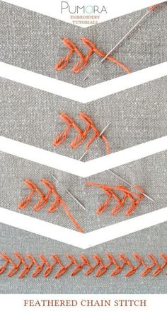 Pumora's embroidery stitch-lexicon: the feathered chain stitch More