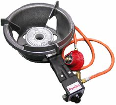 The Rambo is a new high performance 49 MJ wok burner fitted in a frame. Includes hose and adjustable high flow regulator with flame thrower ignition. LPG only.