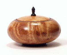 "Mike Rowe - Maple Burl lidded bowl | Miniature maple burl, black walnut and ebony 1 1/8""; in diameter 7/8"" tall."