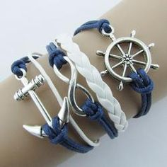 Silver Infinite Bracelet Nautical Rudder Anchor Blue Leather Rope Bangle