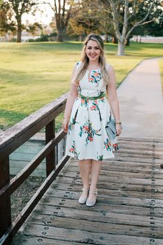 Springtime in a White Floral Dress