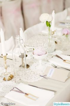bröllopsdukning,virkat, dukar